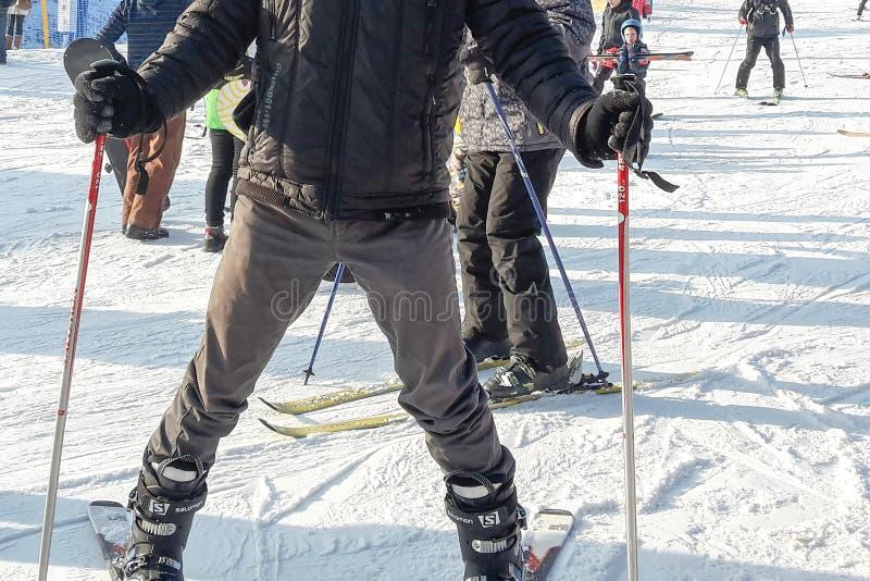 Σκιέρ στην κλίση Ένα άτομο στα σκι θέτει για μια φωτογραφία σε μια κλίση στα βουνά στην Πολωνία στοκ εικόνες