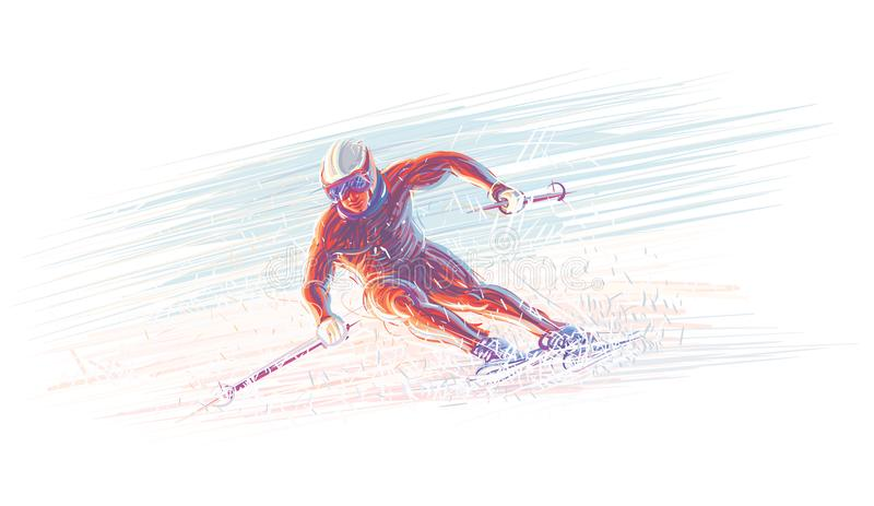 Σκιέρ/χειμερινή olimpic απεικόνιση διάνυσμα 10 eps απεικόνιση αποθεμάτων