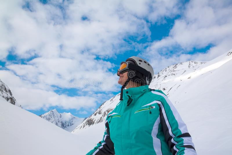 Σκιέρ, Solden, Αυστρία, ακραίος χειμερινός αθλητισμός στοκ εικόνα