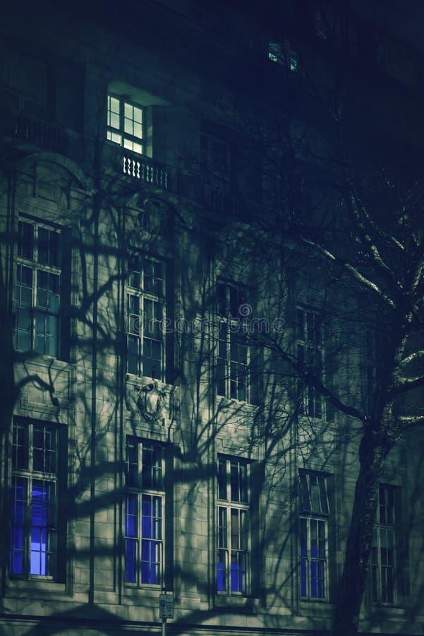 Σκιές δέντρων σε μια πρόσοψη τη νύχτα, Λονδίνο, UK στοκ εικόνες