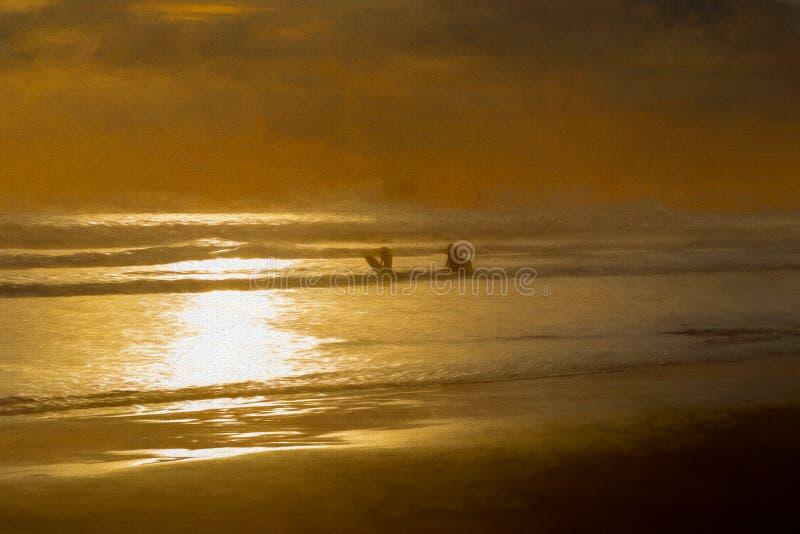 Σκιές της πορτοκαλιών θάλασσας και Surfers Painterly στοκ φωτογραφίες