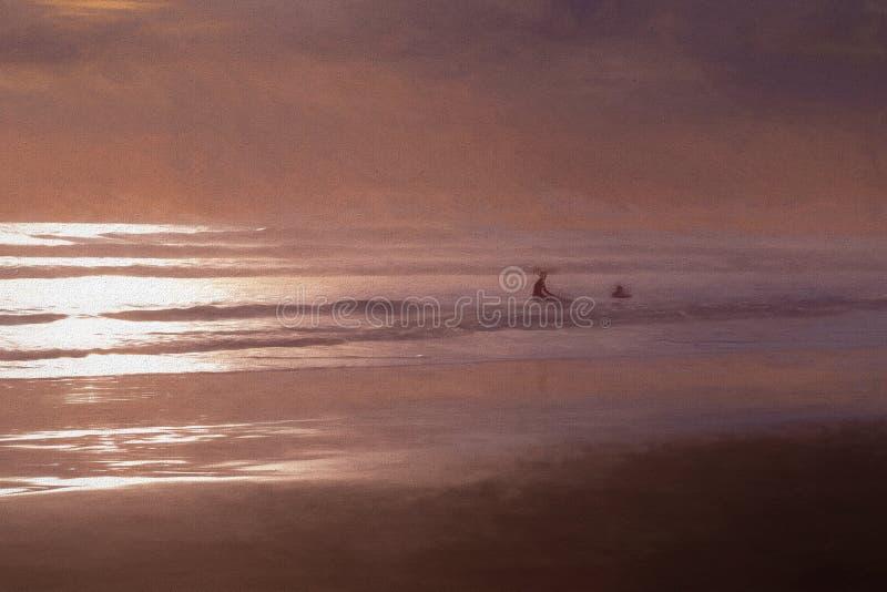 Σκιές Painterly της Ερυθράς Θάλασσας και Surfers στο ηλιοβασίλεμα στοκ εικόνες