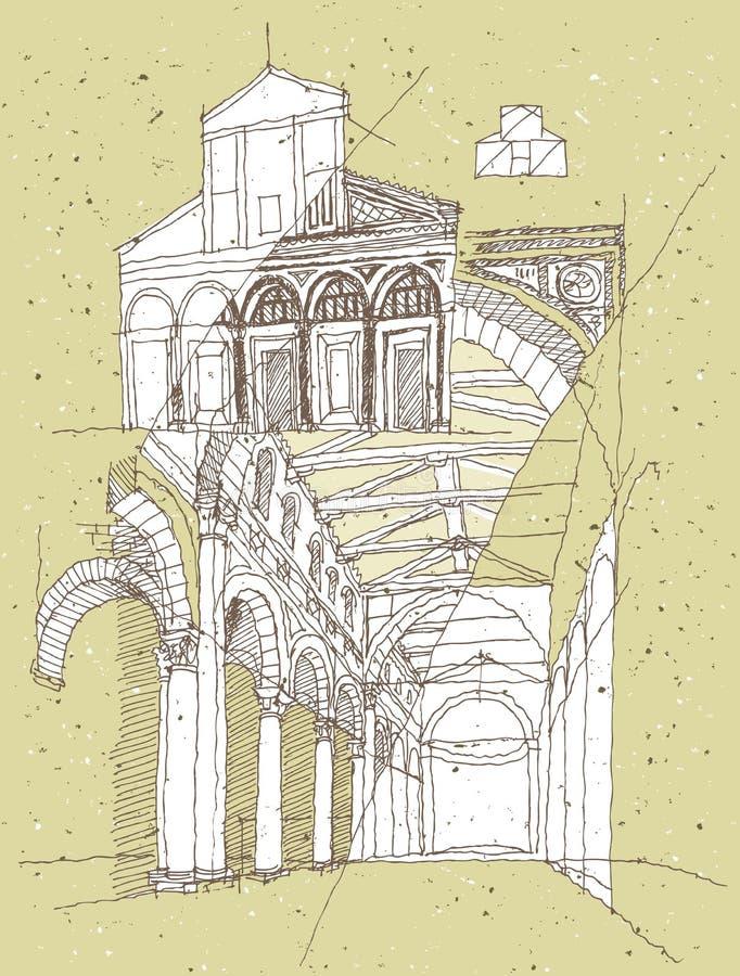 Σκιαγράφηση της ιστορικής αρχιτεκτονικής στην Ιταλία ελεύθερη απεικόνιση δικαιώματος