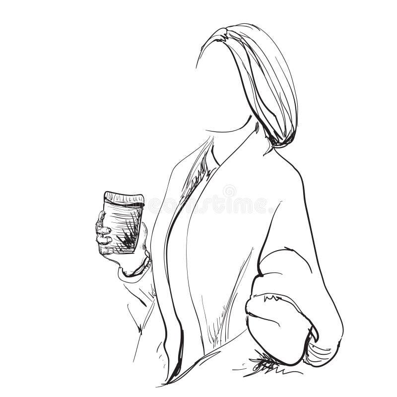Σκιαγράφηση της όμορφης νέας γυναίκας με τον καφέ φλυτζανιών διανυσματική απεικόνιση