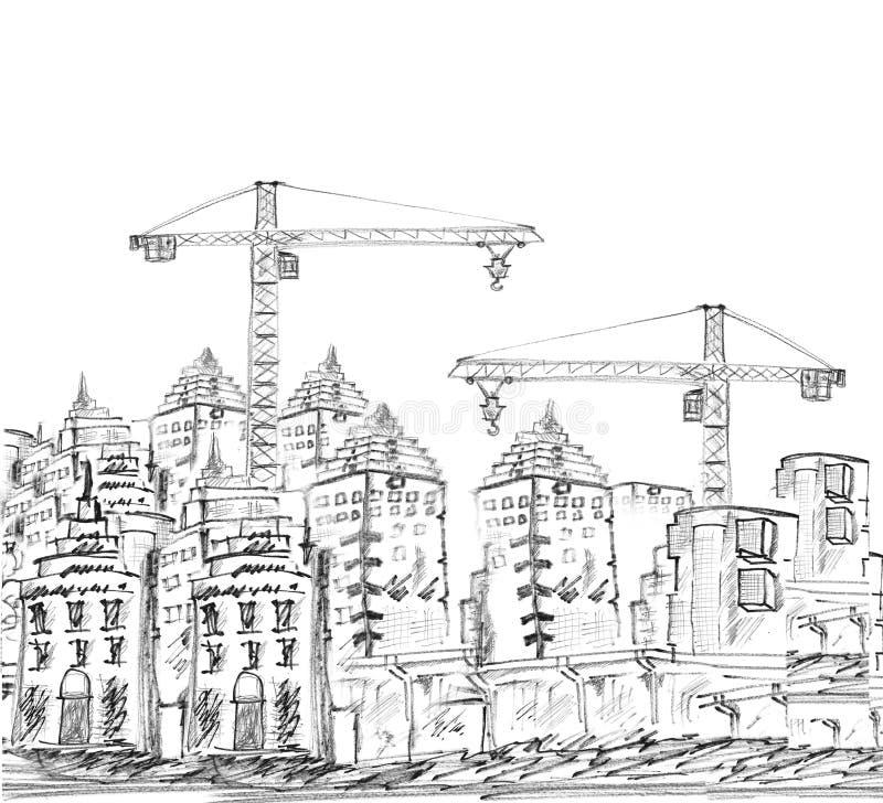 Σκιαγράφηση του σύγχρονων κτηρίου και της οικοδόμησης απεικόνιση αποθεμάτων