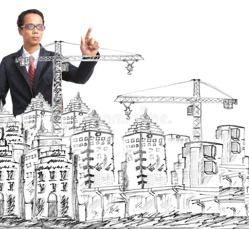 Σκιαγράφηση του σύγχρονων κτηρίου και της οικοδόμησης στοκ φωτογραφία με δικαίωμα ελεύθερης χρήσης