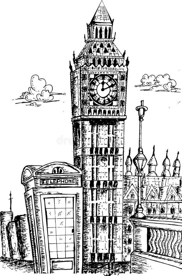 Σκιαγράφηση Big Ben Λονδίνο ελεύθερη απεικόνιση δικαιώματος