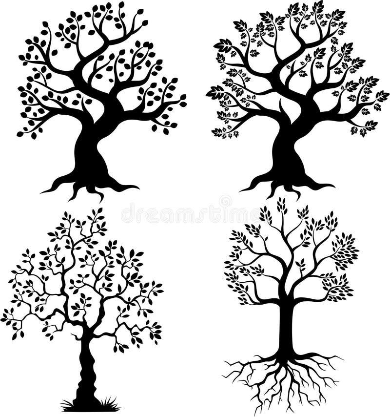 Σκιαγραφία δέντρων κινούμενων σχεδίων απεικόνιση αποθεμάτων