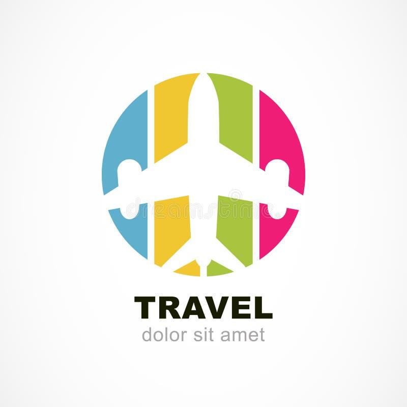 Σκιαγραφία αεροπλάνων πτήσης και ζωηρόχρωμο υπόβαθρο λωρίδων Trave διανυσματική απεικόνιση