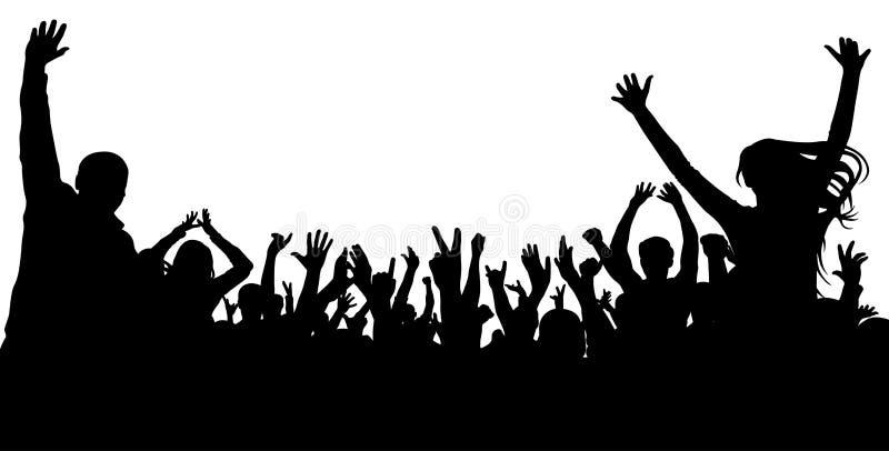 Σκιαγραφία ανθρώπων ευθυμίας πλήθους Ακροατήριο επιδοκιμασίας, διάνυσμα Συναυλία, κόμμα ελεύθερη απεικόνιση δικαιώματος