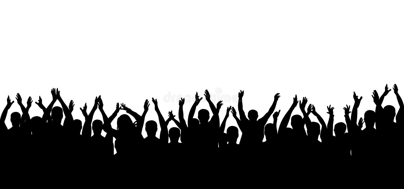 Σκιαγραφία ανθρώπων πλήθους επιδοκιμασίας Εύθυμο πλήθος ενθαρρυντικό ελεύθερη απεικόνιση δικαιώματος