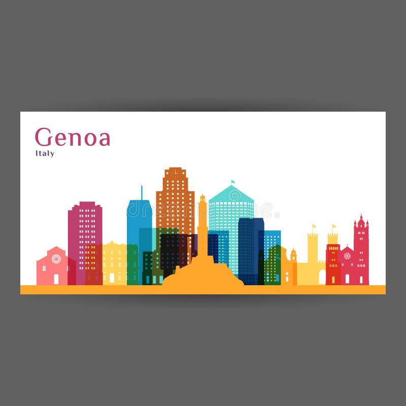 Σκιαγραφία αρχιτεκτονικής πόλεων της Γένοβας Ζωηρόχρωμος ορίζοντας Επίπεδο σχέδιο πόλεων ελεύθερη απεικόνιση δικαιώματος