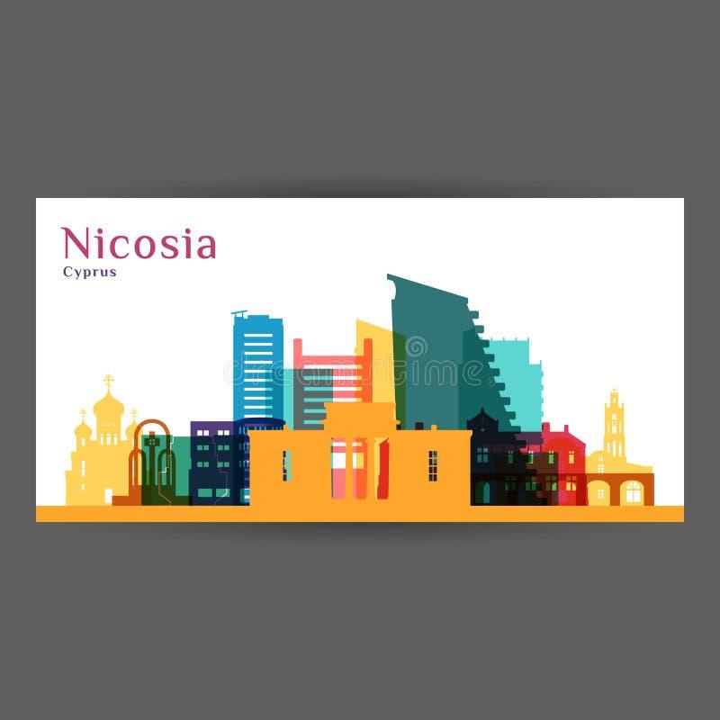 Σκιαγραφία αρχιτεκτονικής πόλεων της Λευκωσίας απεικόνιση αποθεμάτων