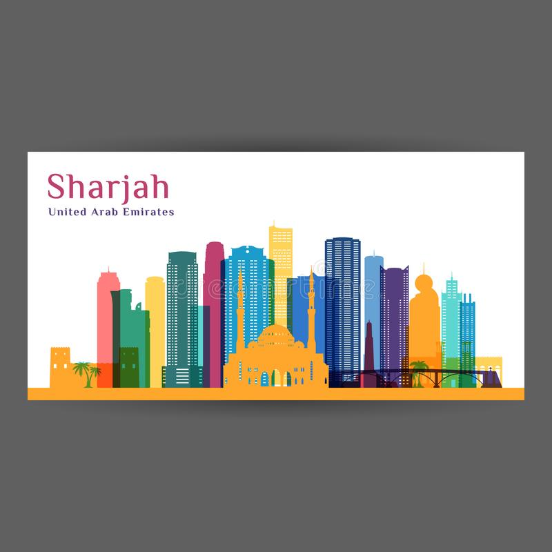 Σκιαγραφία αρχιτεκτονικής πόλεων της Σάρτζας Ζωηρόχρωμος ορίζοντας ελεύθερη απεικόνιση δικαιώματος