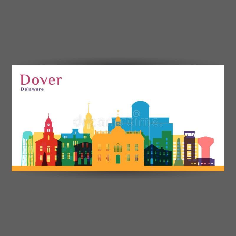 Σκιαγραφία αρχιτεκτονικής πόλεων του Ντόβερ Ζωηρόχρωμος ορίζοντας απεικόνιση αποθεμάτων
