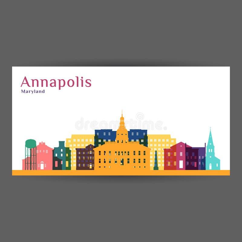Σκιαγραφία αρχιτεκτονικής πόλεων Annapolis ελεύθερη απεικόνιση δικαιώματος