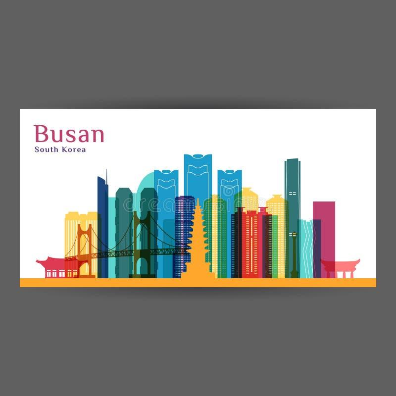 Σκιαγραφία αρχιτεκτονικής πόλεων Busan Ζωηρόχρωμος ορίζοντας απεικόνιση αποθεμάτων
