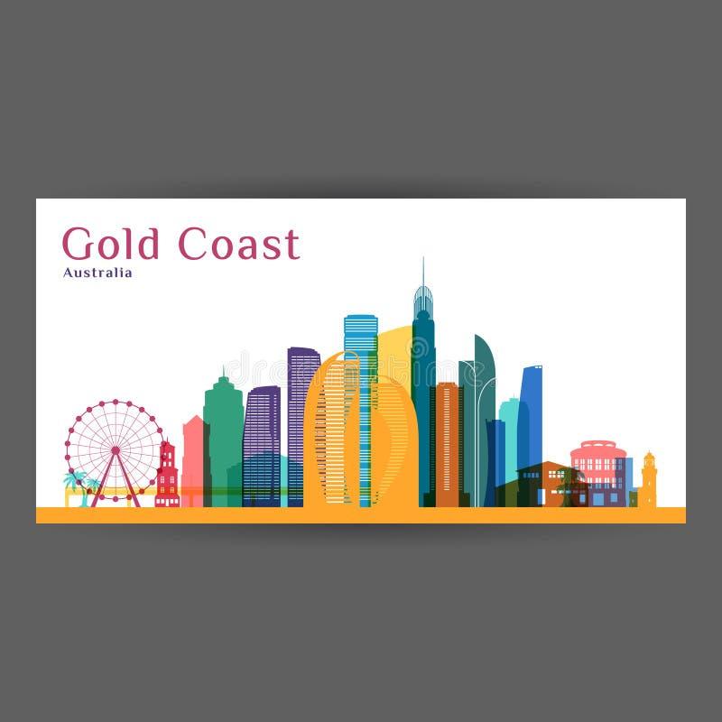 Σκιαγραφία αρχιτεκτονικής πόλεων Gold Coast απεικόνιση αποθεμάτων