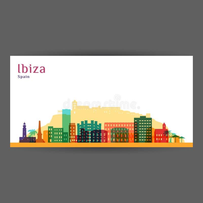 Σκιαγραφία αρχιτεκτονικής πόλεων Ibiza διανυσματική απεικόνιση