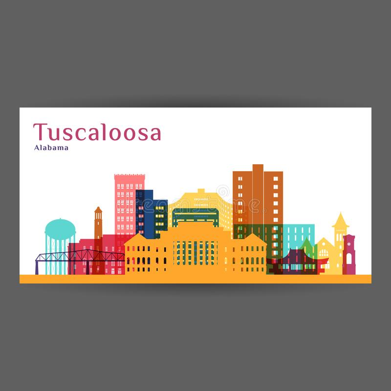Σκιαγραφία αρχιτεκτονικής πόλεων Tuscaloosa ελεύθερη απεικόνιση δικαιώματος