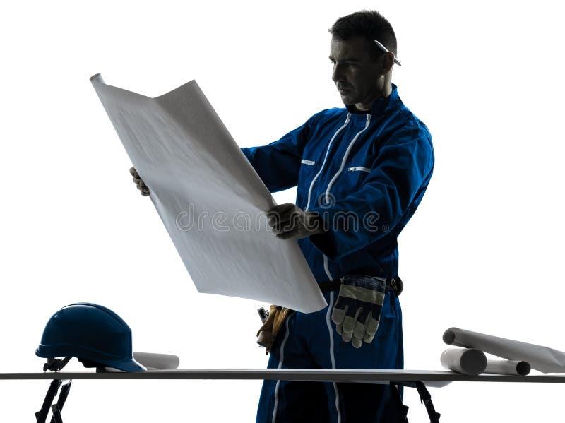 Σκιαγραφία αρχιτεκτόνων κατασκευής ατόμων στοκ φωτογραφία