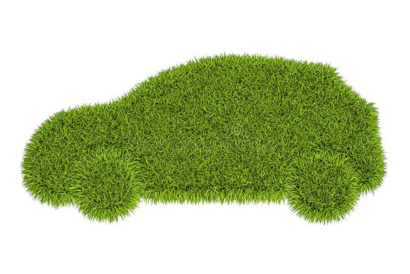 Σκιαγραφία αυτοκινήτων από την πράσινη χλόη, τρισδιάστατη απόδοση ελεύθερη απεικόνιση δικαιώματος