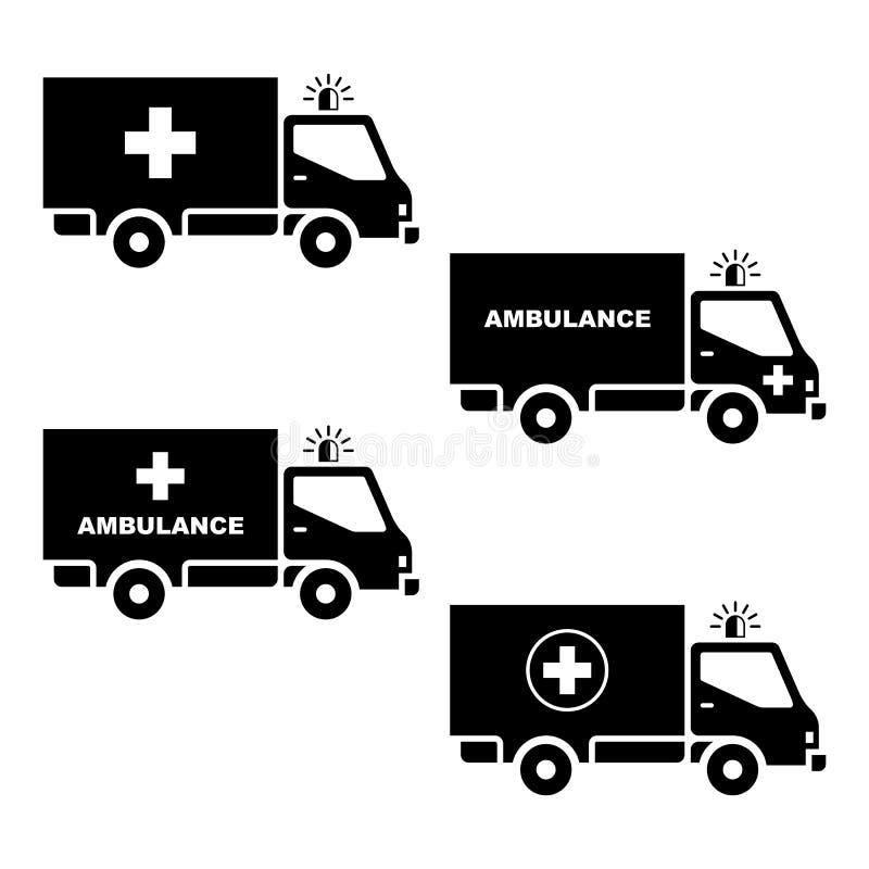 Σκιαγραφία αυτοκινήτων ασθενοφόρων διανυσματική απεικόνιση