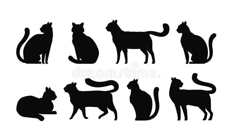 Σκιαγραφία γατών, καθορισμένα εικονίδια Κατοικίδια ζώα, γατάκι, αιλουροειδής, σύμβολο ζώων επίσης corel σύρετε το διάνυσμα απεικό ελεύθερη απεικόνιση δικαιώματος