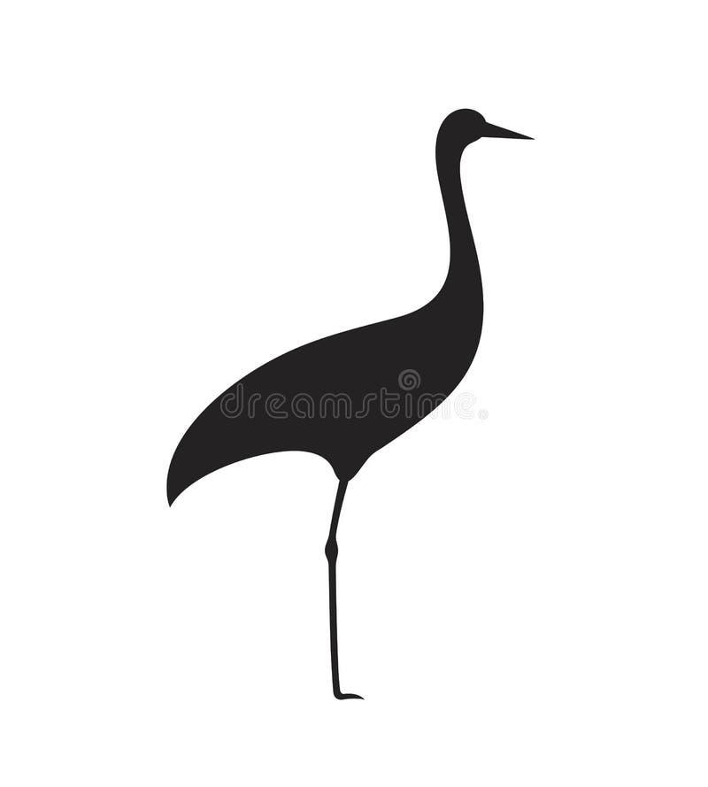 Σκιαγραφία γερανών Απομονωμένος γερανός στο άσπρο backgroun Πουλί απεικόνιση αποθεμάτων