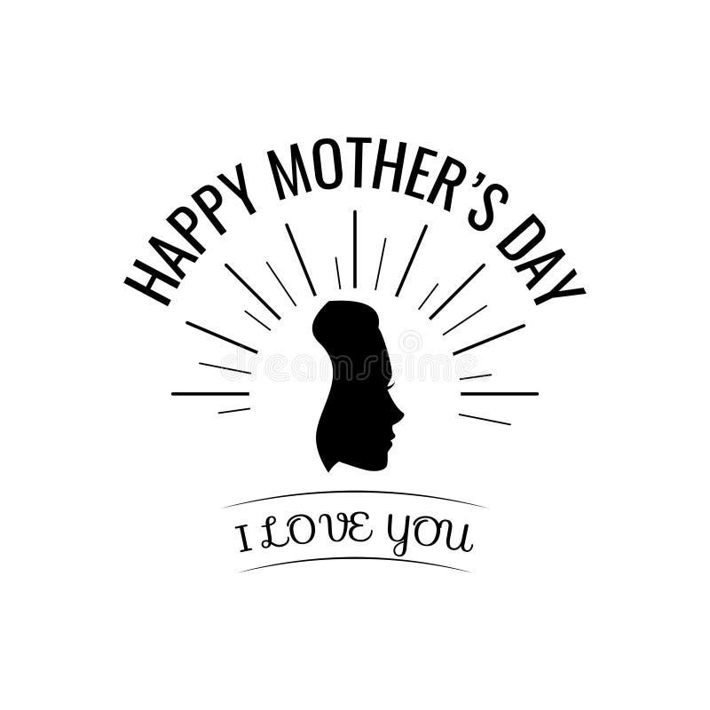 Σκιαγραφία γυναίκας Κάρτα ημέρας μητέρων s διάνυσμα απεικόνιση αποθεμάτων