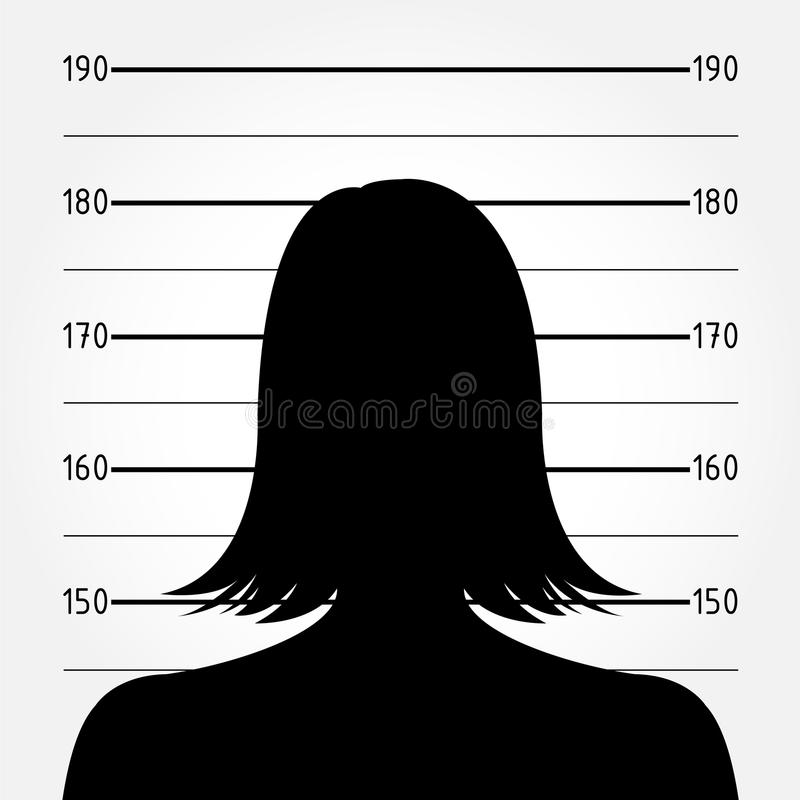 Σκιαγραφία γυναικών στο mugshot ή την αστυνομία lineup διανυσματική απεικόνιση