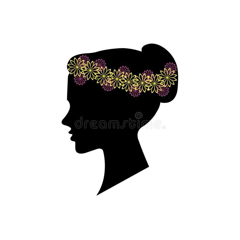 Σκιαγραφία γυναικών, floral hairstyle για το σχέδιό σας απεικόνιση αποθεμάτων