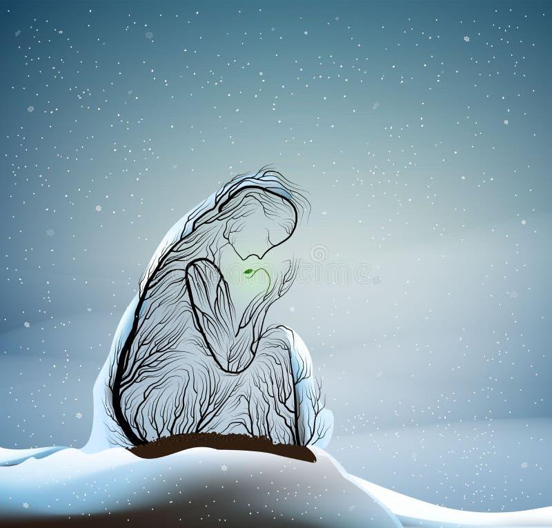Σκιαγραφία δέντρων όπως μια γυναίκα που κρατά τον πράσινο νεαρό βλαστό, πρώτος νεαρός βλαστός άνοιξης στον κρύο χειμερινό καιρό,  διανυσματική απεικόνιση
