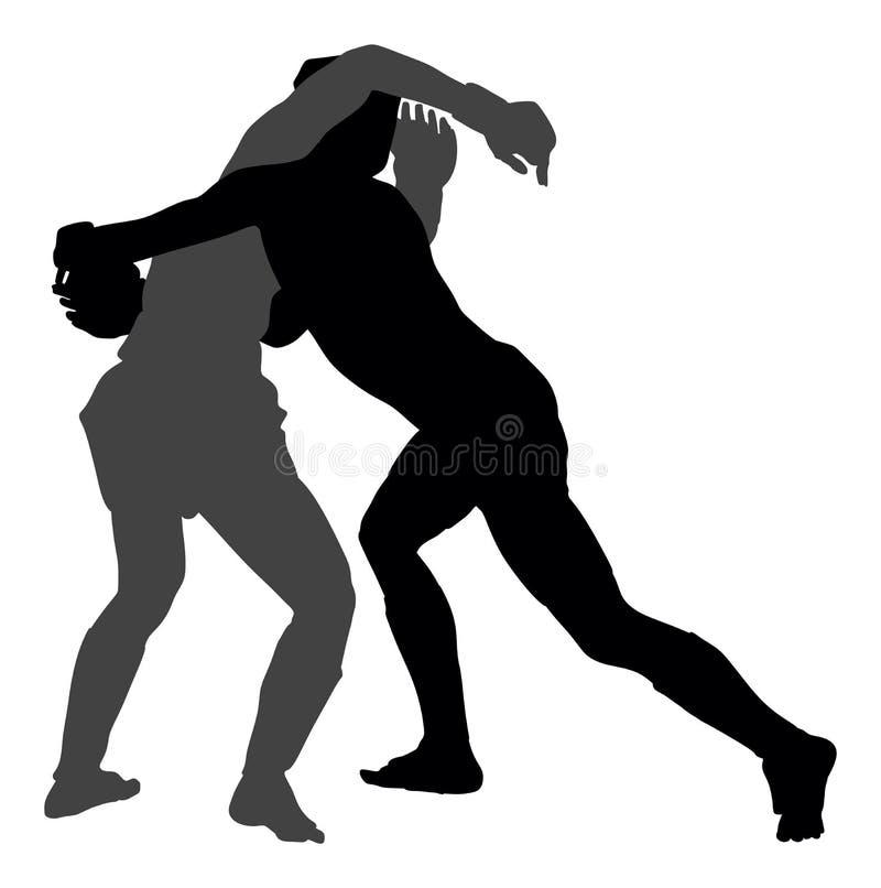 Σκιαγραφία δύο μαχητών mma, πολυ ανταγωνισμός πολεμικών τεχνών πάλη απεικόνιση αποθεμάτων