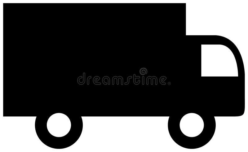 Σκιαγραφία εικονιδίων φορτηγών παράδοσης r ελεύθερη απεικόνιση δικαιώματος