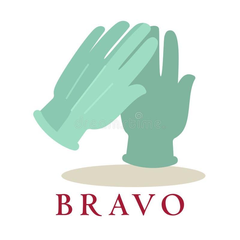 Σκιαγραφία εικονιδίων γαντιών επιδοκιμασίας λογότυπων Bravo που απομονώνεται στο άσπρο υπόβαθρο ελεύθερη απεικόνιση δικαιώματος
