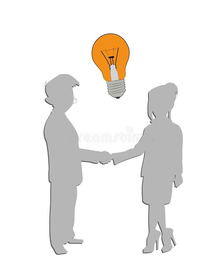 Σκιαγραφία ενός άνδρα και μιας γυναίκας Επιχειρησιακή σχέση lightbulb- ιδέα επίσης corel σύρετε το διάνυσμα απεικόνισης απεικόνιση αποθεμάτων