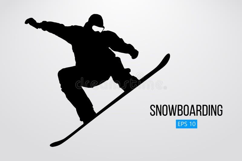 Σκιαγραφία ενός άλματος snowboarder που απομονώνεται επίσης corel σύρετε το διάνυσμα απεικόνισης