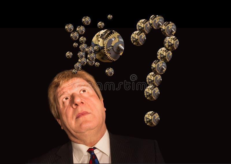 Σκιαγραφία ενός ατόμου με έναν εγκέφαλο φιαγμένο επάνω από έργα μερών μηχανών εργαλείων ή βαραίνω στοκ εικόνες