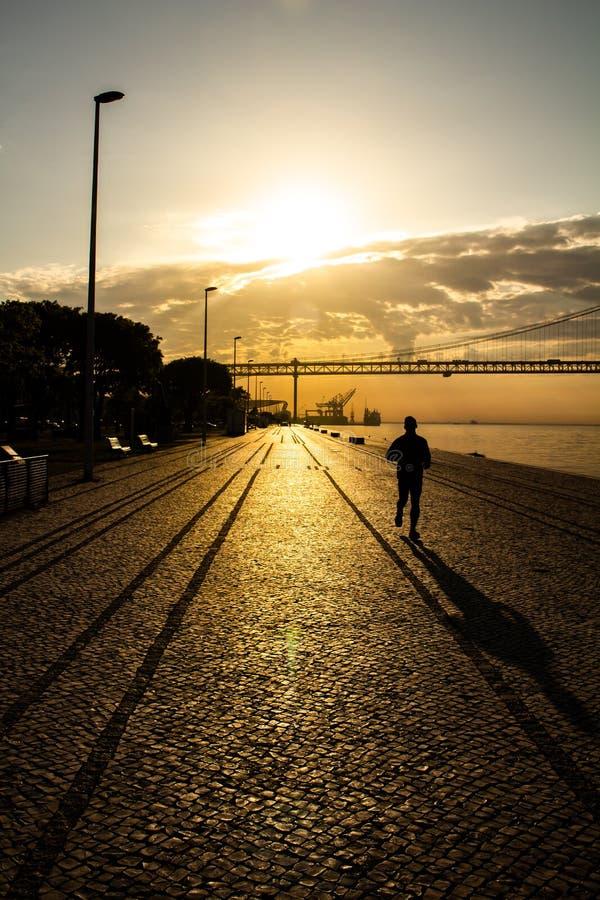 Σκιαγραφία ενός ατόμου που τρέχει στην άκρη της αποβάθρας στοκ εικόνα με δικαίωμα ελεύθερης χρήσης