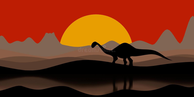 Σκιαγραφία ενός δεινοσαύρου στο βράδυ ηλιοβασιλέματος με ένα ηφαίστειο και των βουνών στην τρισδιάστατη απεικόνιση υποβάθρου απεικόνιση αποθεμάτων
