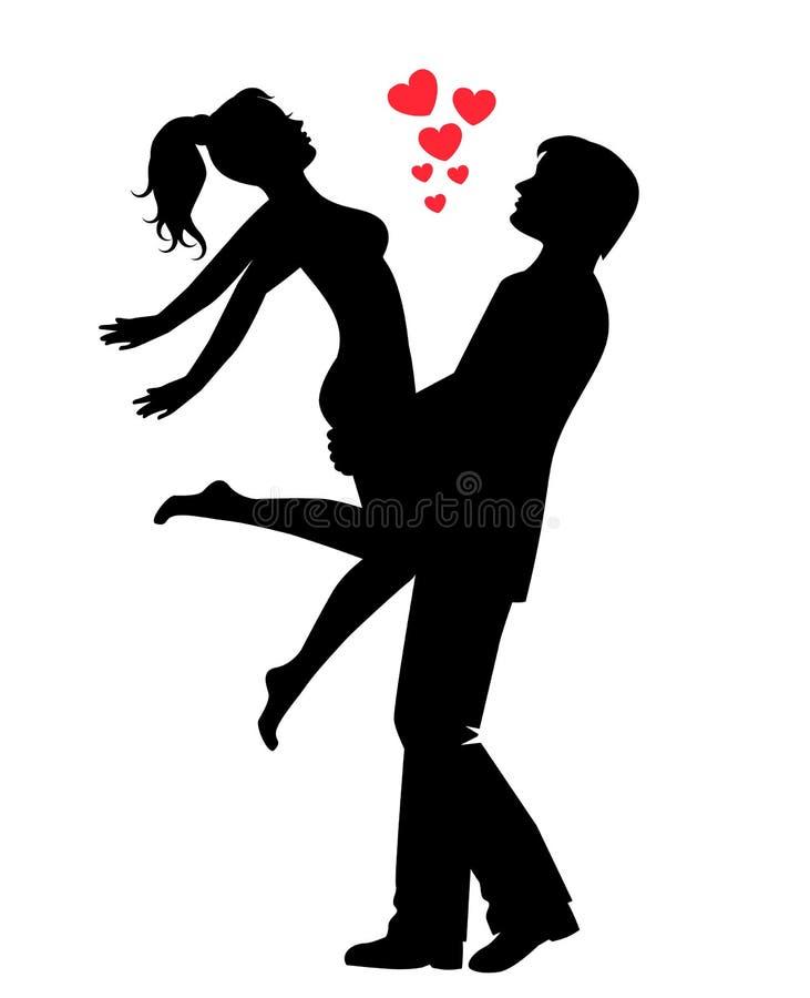 Σκιαγραφία ενός ευτυχούς αγαπώντας ζεύγους ελεύθερη απεικόνιση δικαιώματος