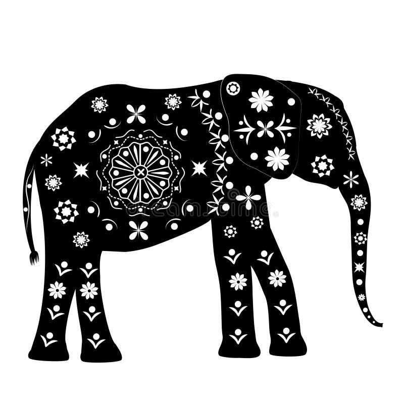 Σκιαγραφία ενός ελέφαντα με τα σχέδια στο αρχαίο παραδοσιακό s απεικόνιση αποθεμάτων