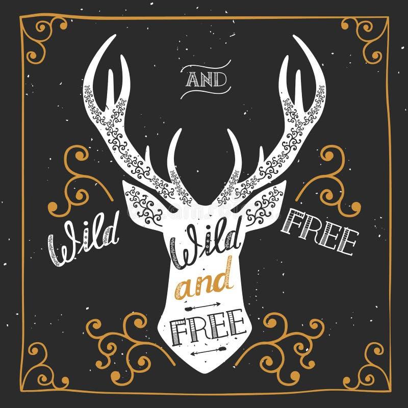 Σκιαγραφία ενός ελαφιού Συρμένη χέρι αφίσα τυπογραφίας, ευχετήρια κάρτα, για το σχέδιο μπλουζών άγριο και ελεύθερο, ελεύθερη απεικόνιση δικαιώματος