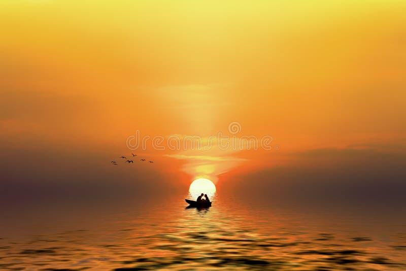 Σκιαγραφία ενός ζεύγους στη βάρκα στοκ εικόνα με δικαίωμα ελεύθερης χρήσης