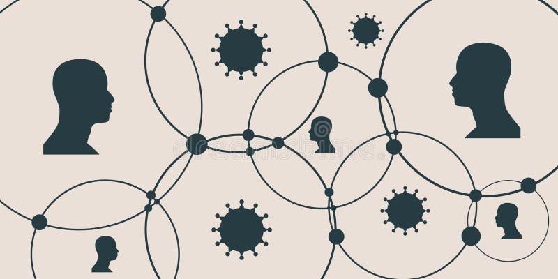 Σκιαγραφία ενός κεφαλιού και των ιών ατόμων ` s διανυσματική απεικόνιση