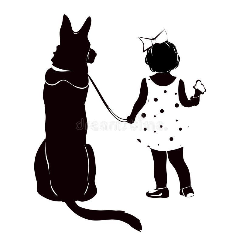 Σκιαγραφία ενός κοριτσιού με ένα σκυλί στοκ εικόνες
