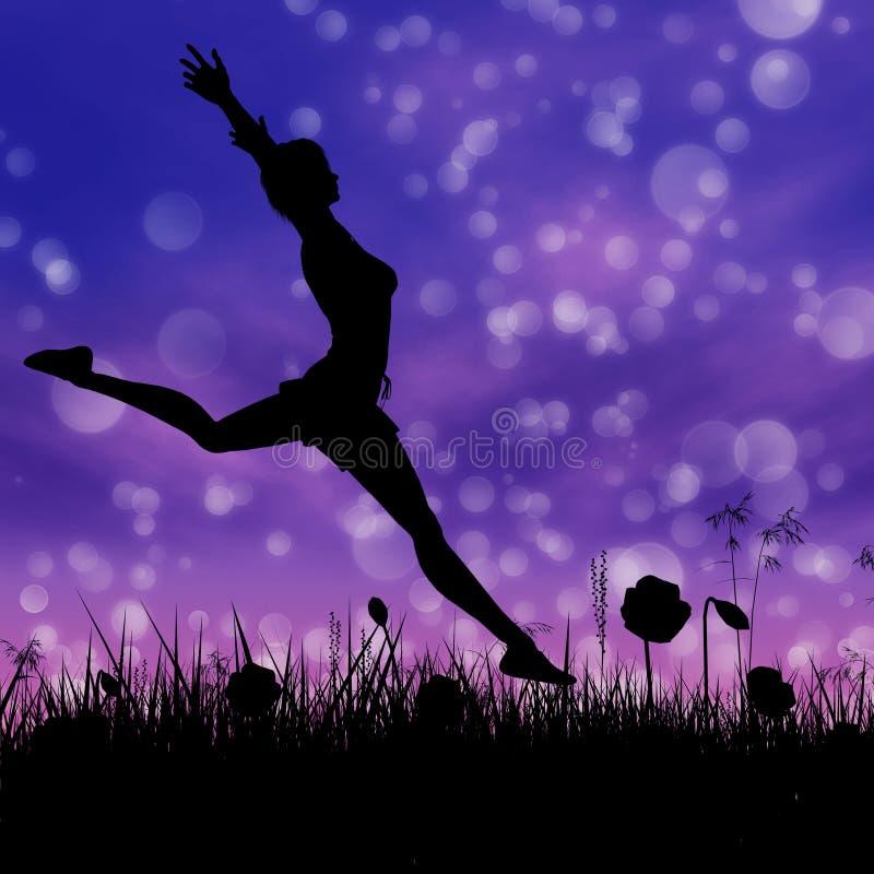 Σκιαγραφία ενός κοριτσιού που πηδά στο λιβάδι διανυσματική απεικόνιση