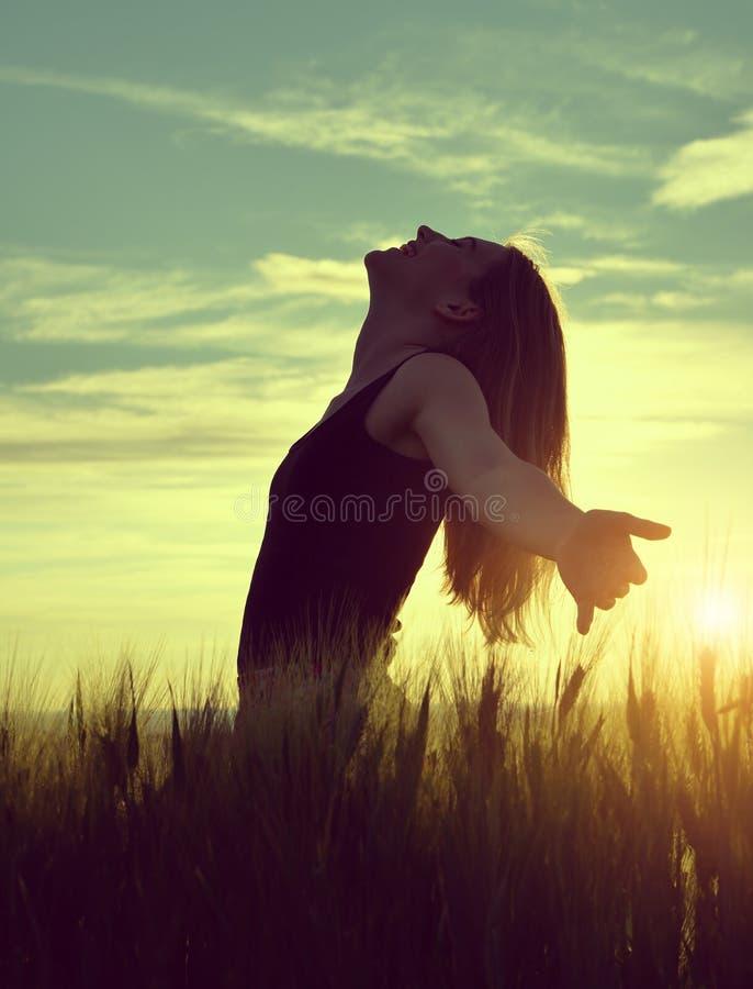 Σκιαγραφία ενός κοριτσιού σε έναν τομέα κριθαριού στοκ φωτογραφίες με δικαίωμα ελεύθερης χρήσης