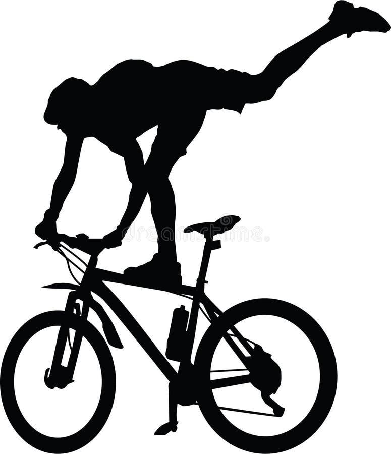 Σκιαγραφία ενός ποδηλάτη που στέκεται στο ποδήλατο απεικόνιση αποθεμάτων